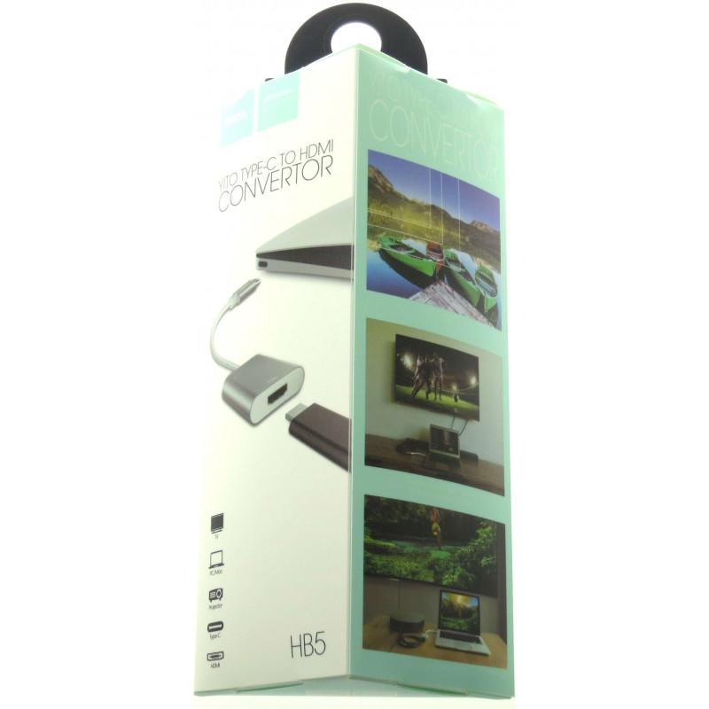 hoco. HB5 convertor typ-c to HDMI silver