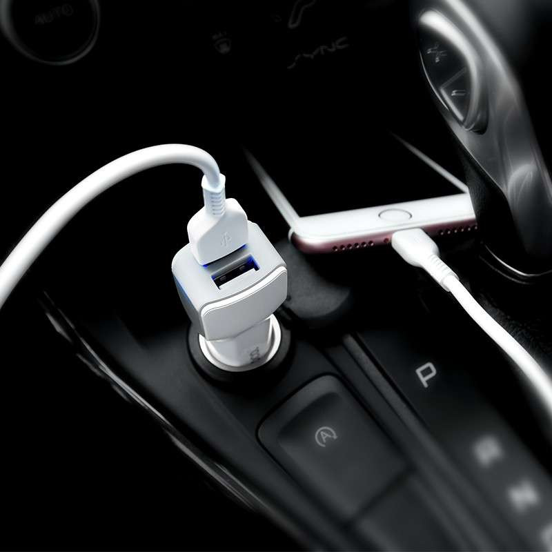 hoco. Z23 dual USB car charger with microUB cable