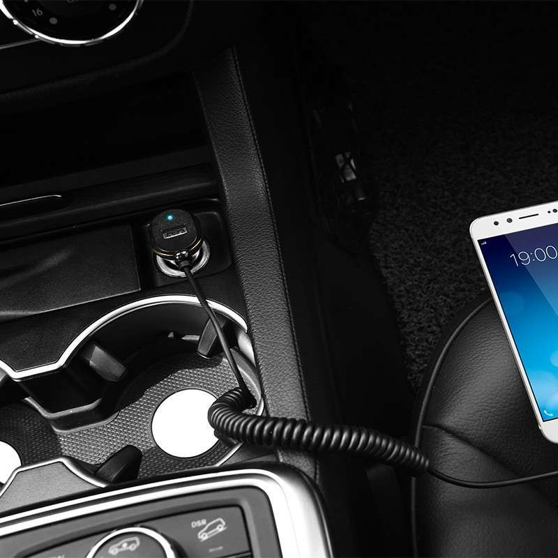 hoco. Z14 car charger with lightning cable and USB port