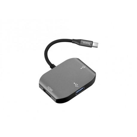hoco. HB7 convertor type-c to HDMI + USB 3.0 + USB 2.0
