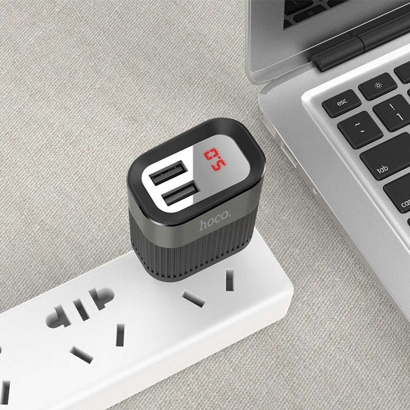 Original hoco. C40A dual USB charger with LED display white