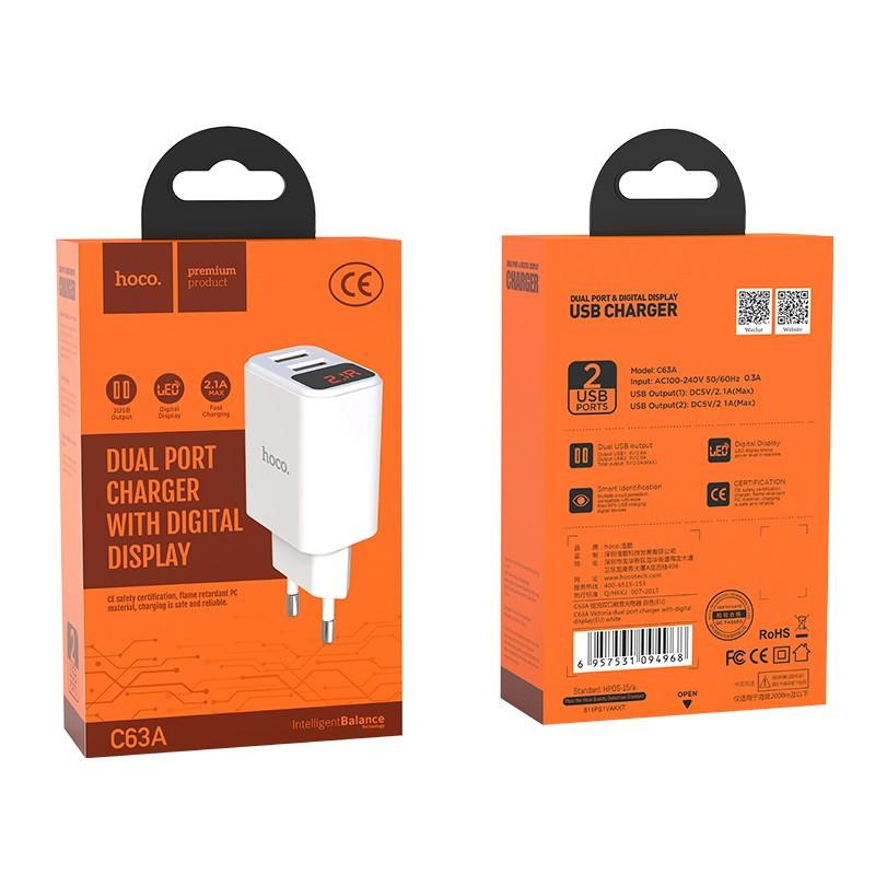 Originál dual USB nabíjačka hoco. C36A biela