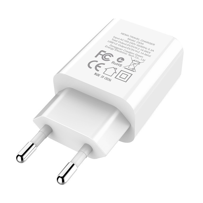 Original hoco. C63A dual USB charger white