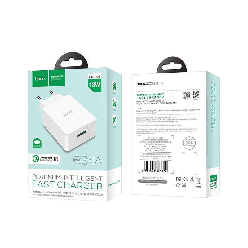 hoco. C34A 18W rapid charger