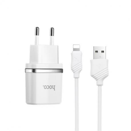 hoco. C12 nabíjačka dual USB s lightning káblom