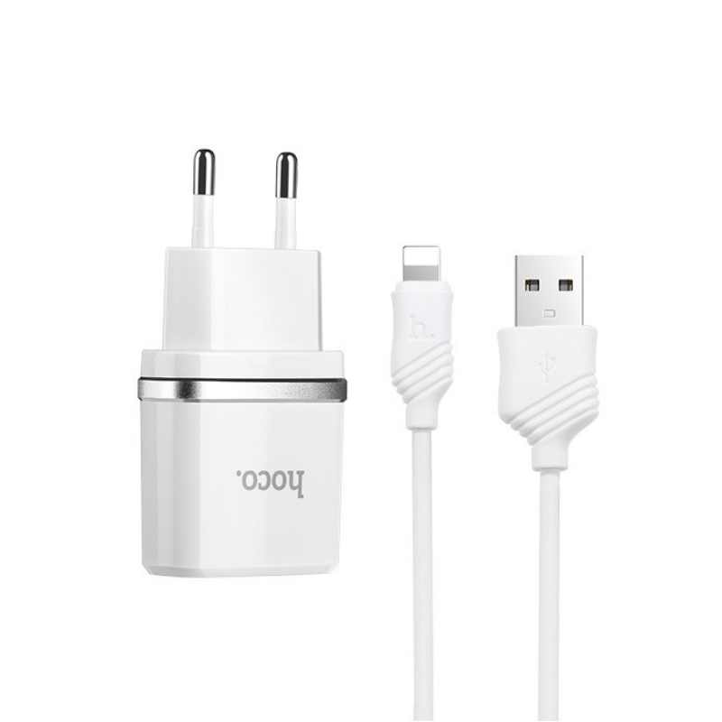 hoco. C12 dual USB charger with lightning cable