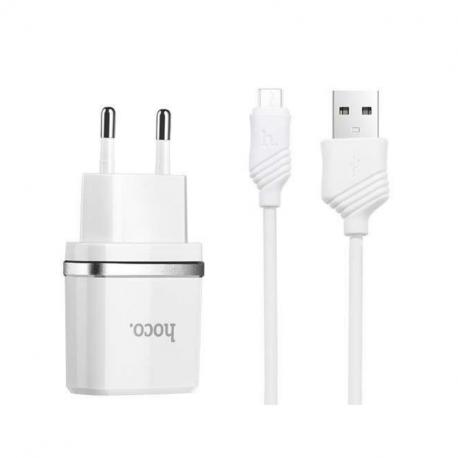hoco. C12 nabíjačka dual USB s microUSB káblom