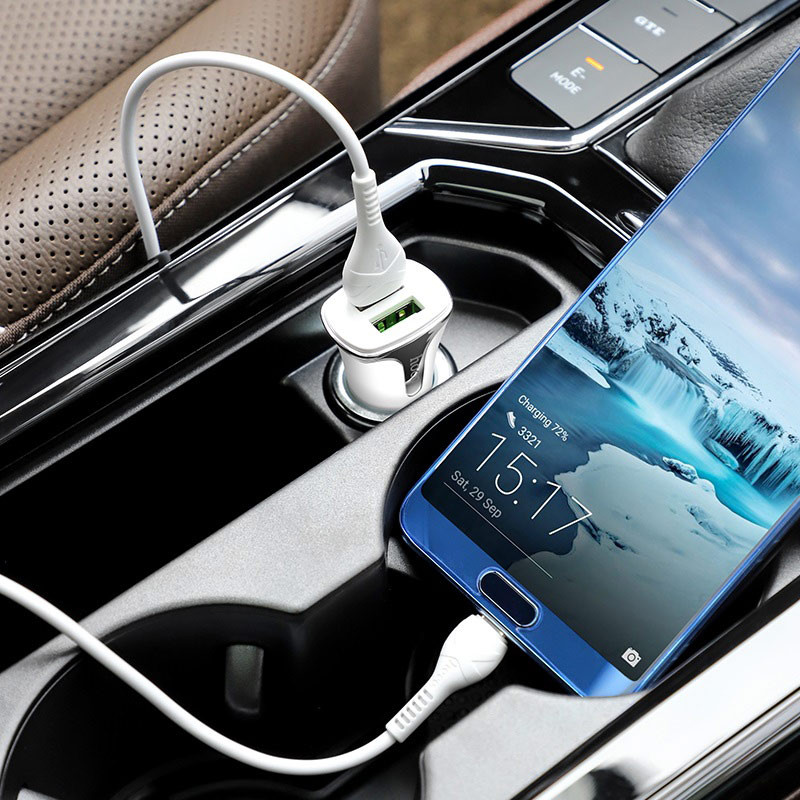 hoco. Z31 18W QC3.0 dual USB fast charging car kit with type-c