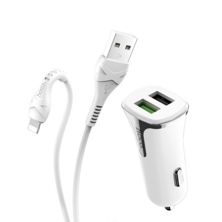 hoco. Z31 18W QC3.0 dual USB rýchlonabíjací set do auta s lightning káblom