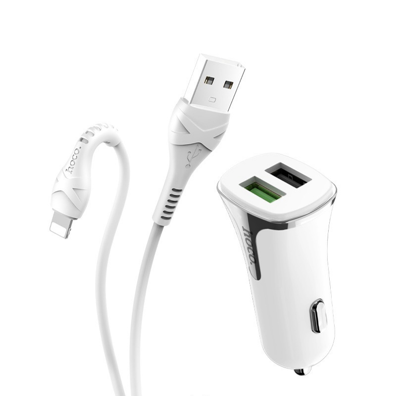 hoco. Z31 18W QC3.0 dual USB fast charging car kit with lightning cable
