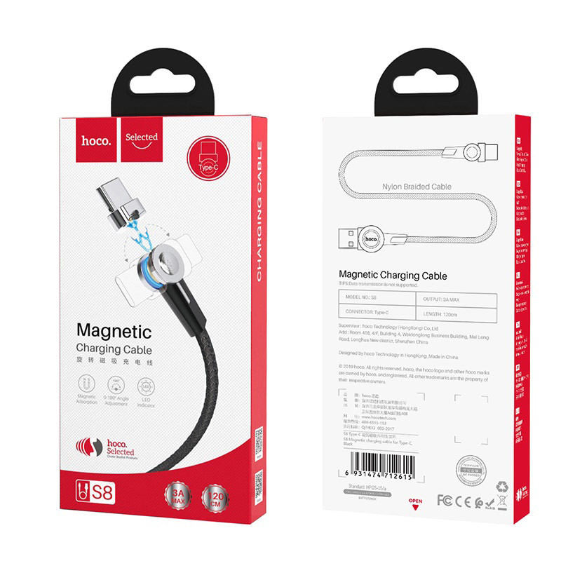 Original hoco. S8 magnetic type-c charging cable black