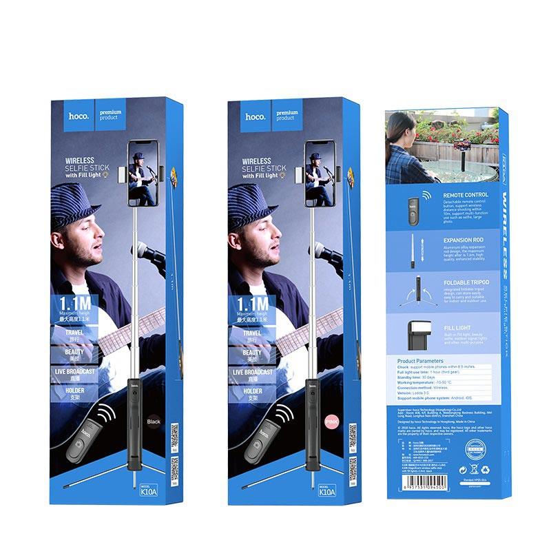 hoco. K10A 2v1 wireless tripod and selfie stick with light
