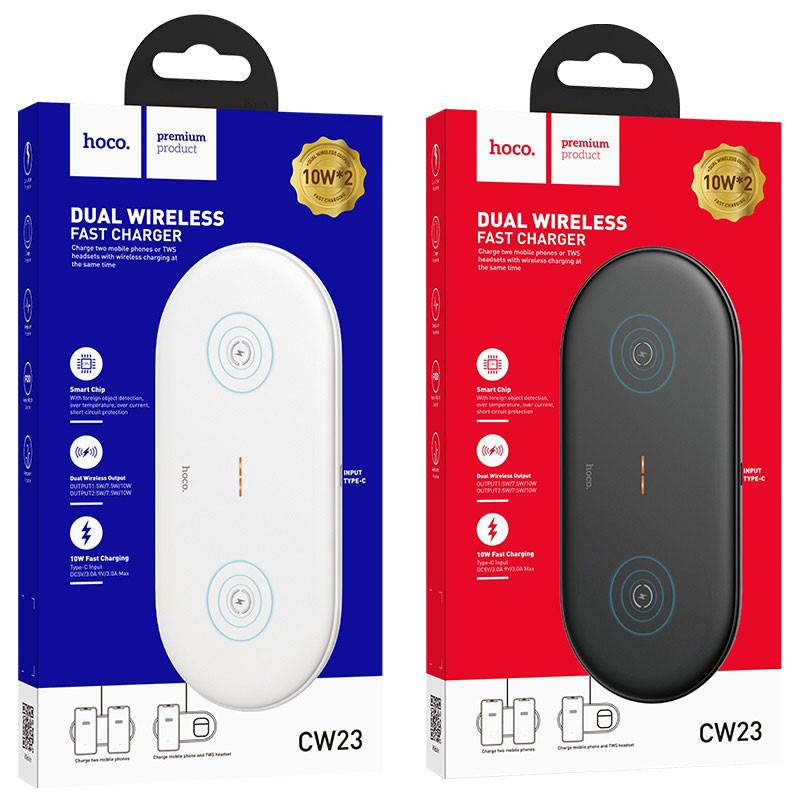Originál 2v1 bezdrôtová nabíjačka hoco. CW23 biela