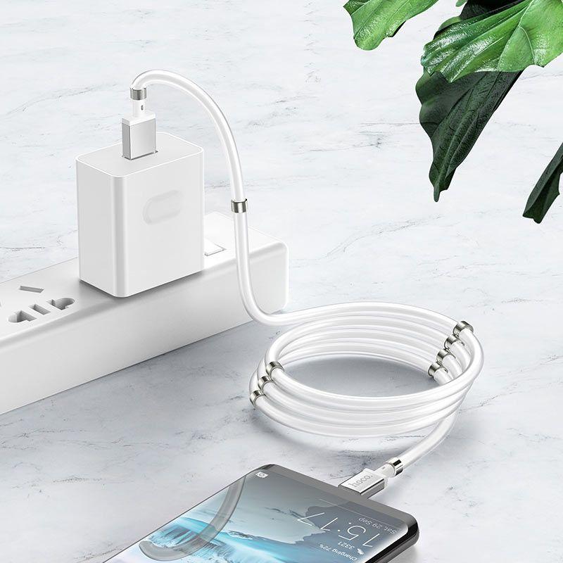 Original hoco. U91 winding type-c charging cable white