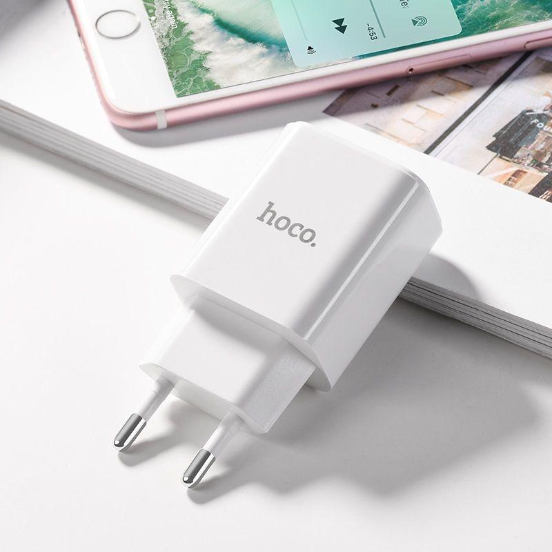 Original hoco. C62A dual USB charger white