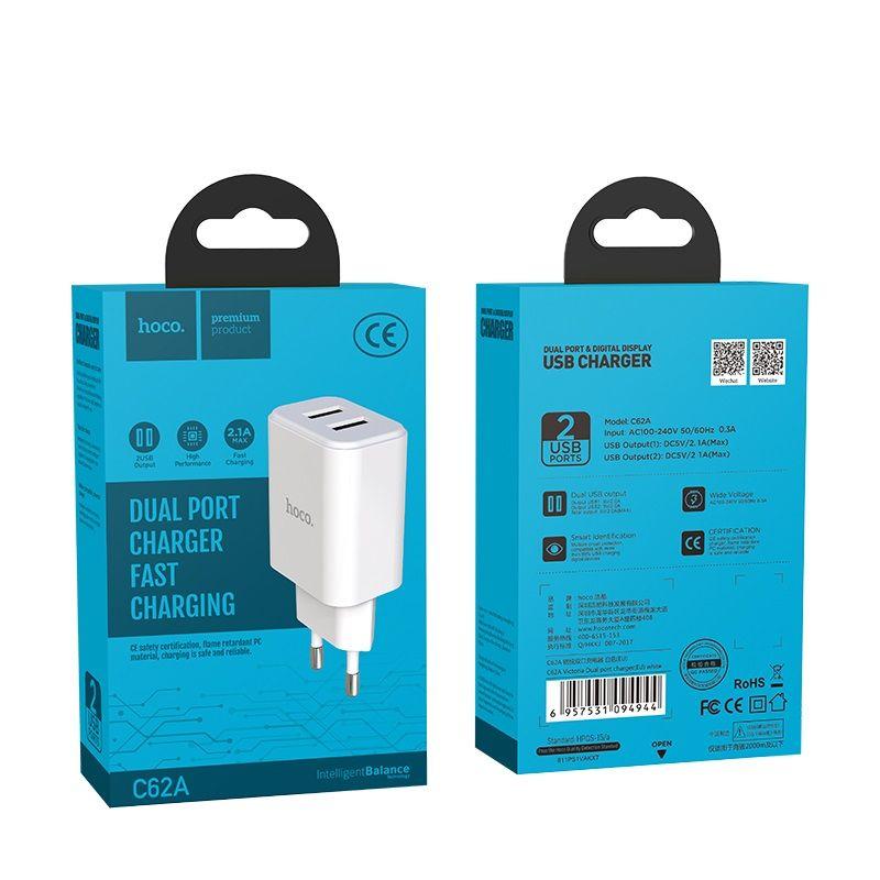 Originál dual USB nabíjačka hoco. C62A biela