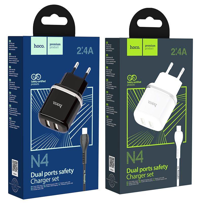 Originál dual USB nabíjací set s lightning káblom hoco. N4 biela