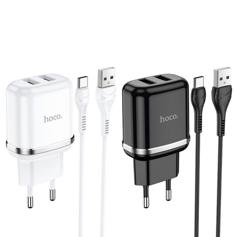 Original hoco. N4 dual USB charging set with type-c cable white