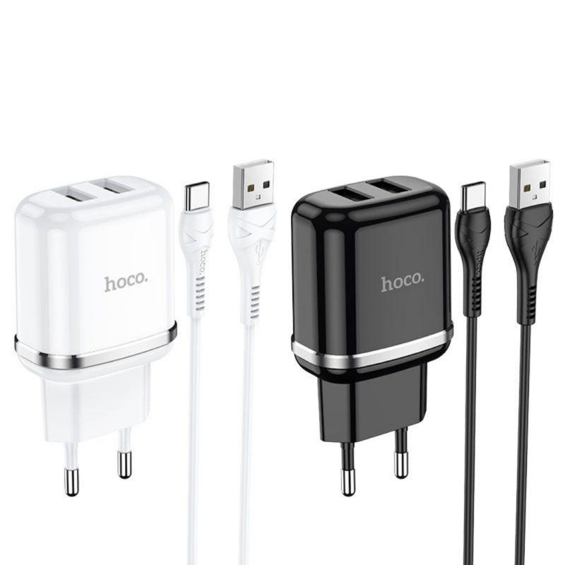 Originál dual USB nabíjací set s type-c káblom hoco. N4 biela