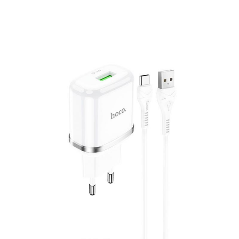 Original hoco. N3 18W fast charging set with type-c cable white