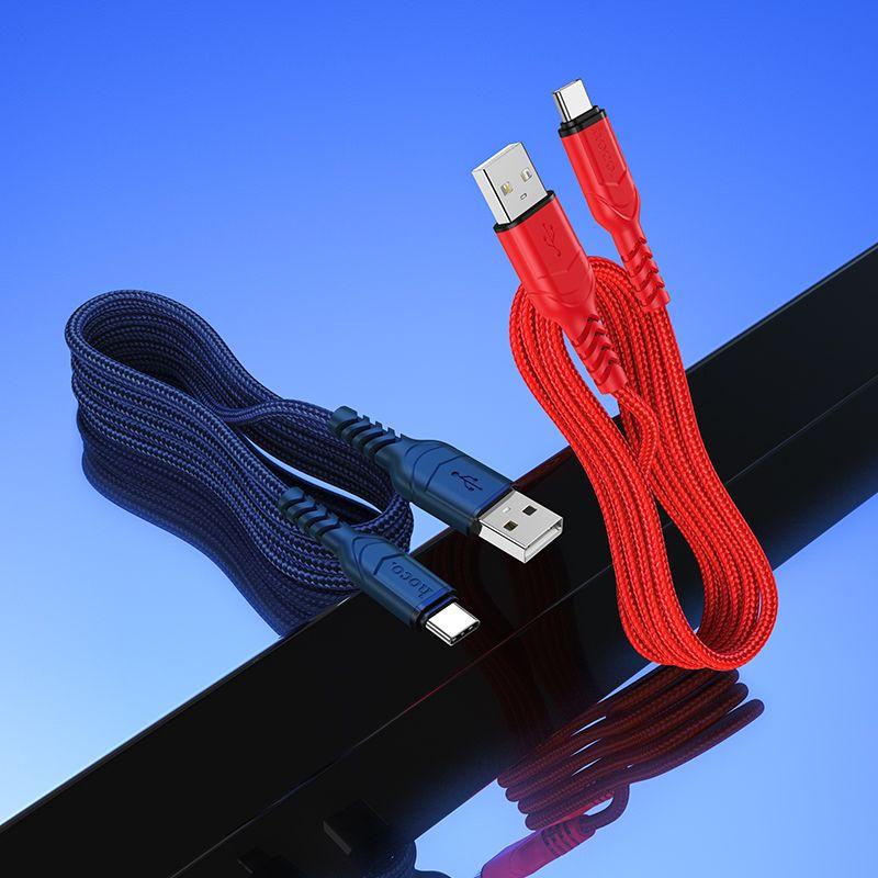 Originál nabíjací type-c kábel 1m hoco. X59 červená, modrá