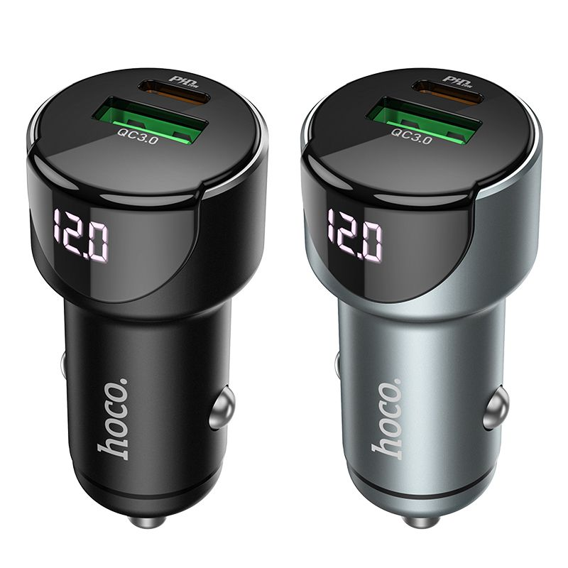Original hoco. Z32 20W PD + QC3.0 fast car charger black
